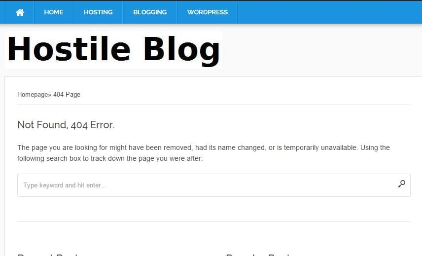 WordPress 404 error template