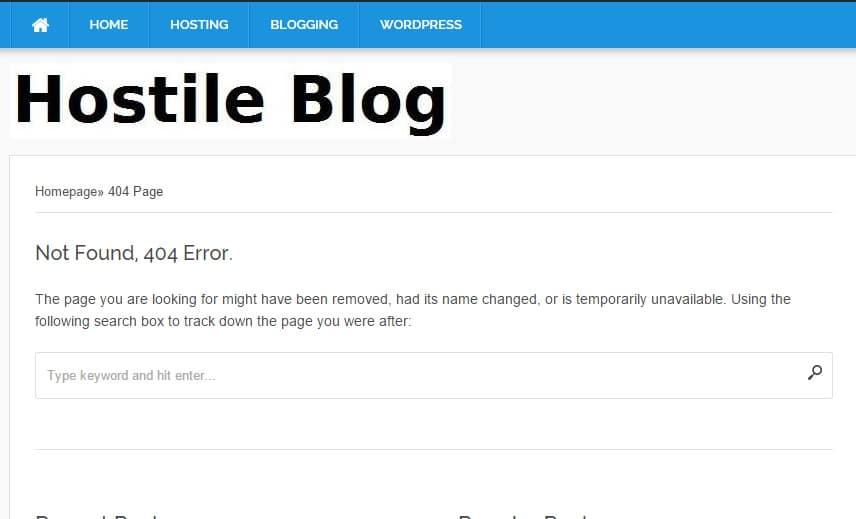 WordPress 404 error template