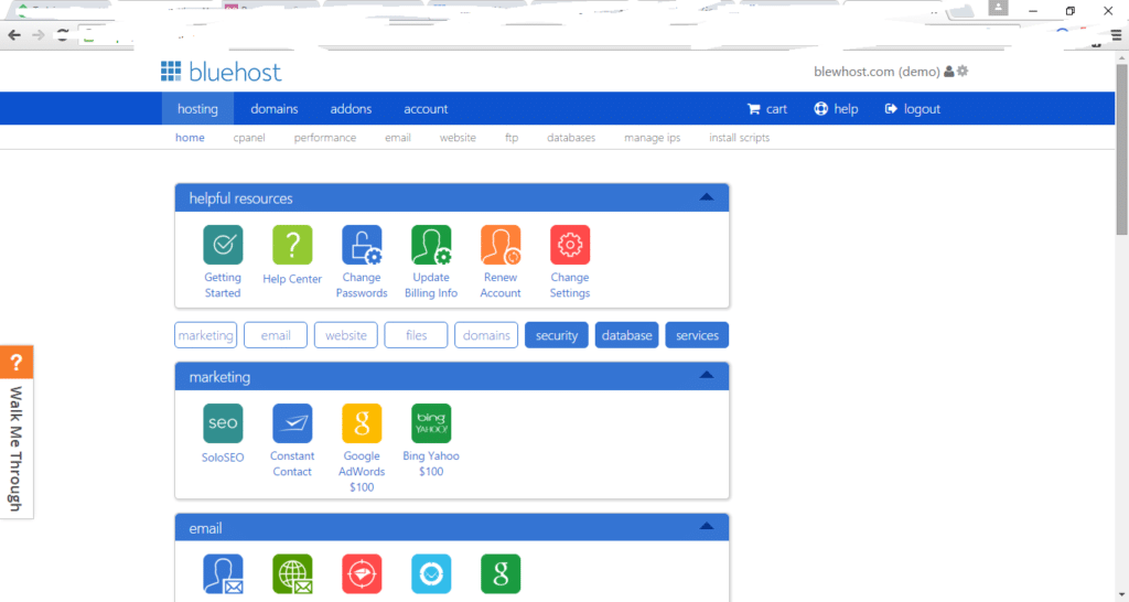 Bluehost cpanel demo