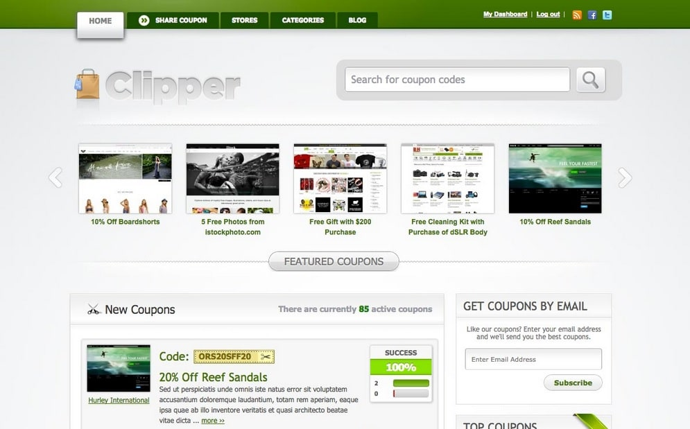 Clipper - Best WordPress coupon themes for 2015