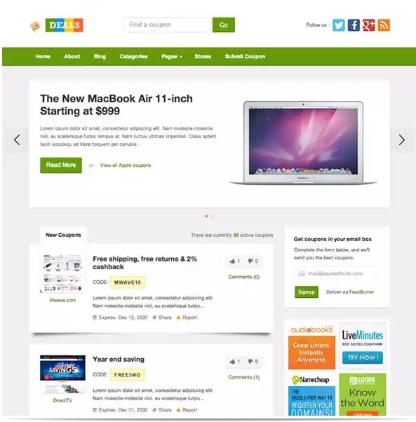 Deals - Best coupon theme for WordPress 2015