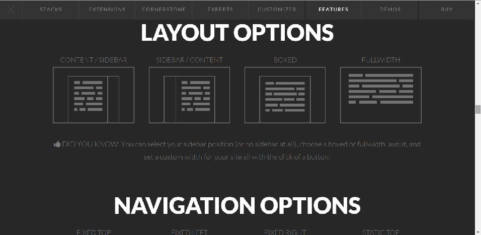 WordPress X theme review layout options