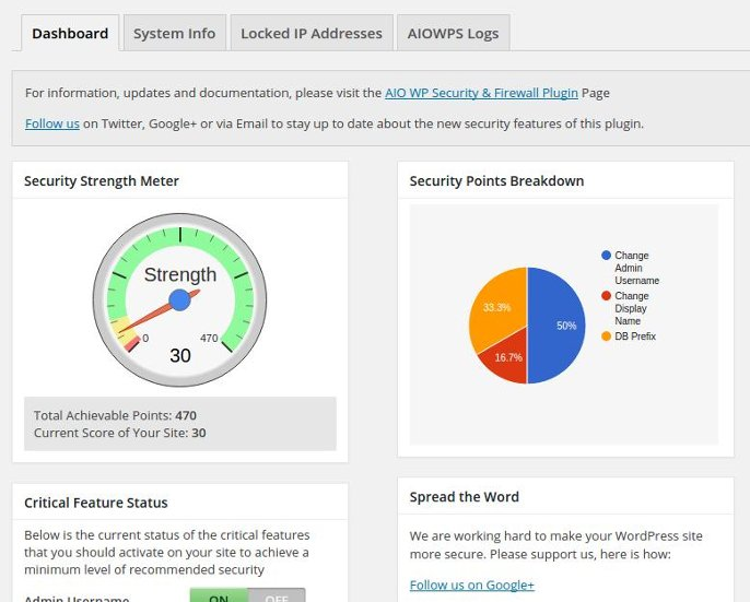 All in one security plugin dashboard