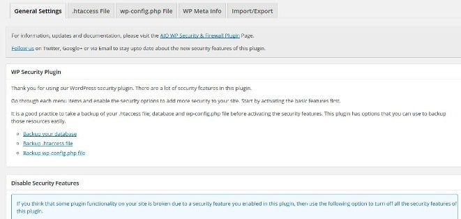 All in one security plugin and firewall settings