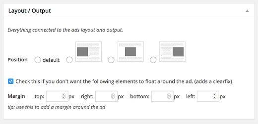 Advanced Ads layout