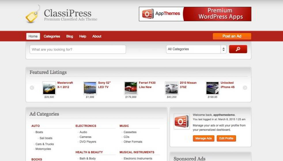 classipress review homepage
