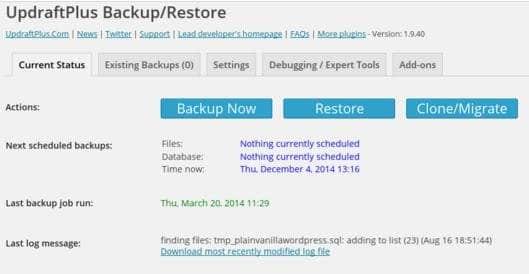 updraft wordpress database backup plugin