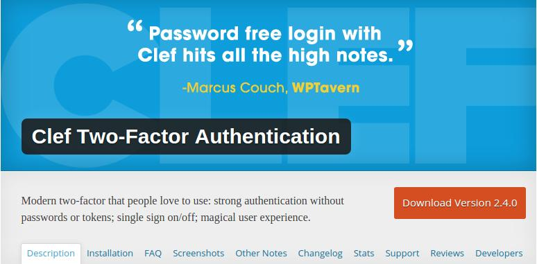 clef : 2 step authentication plugin