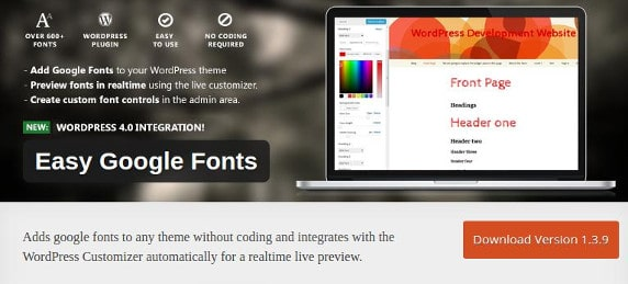Easy google fonts wordpress plugin