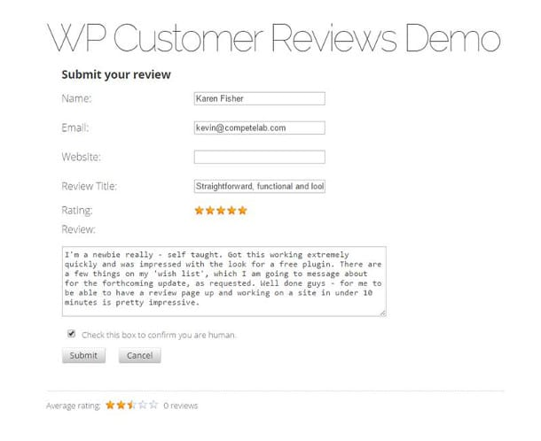 wordpress customer reviews plugin