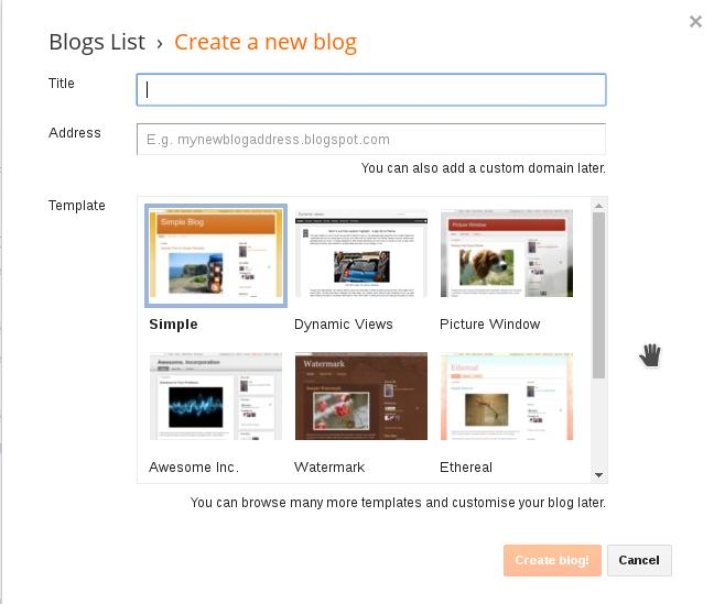 blogger : start a blog