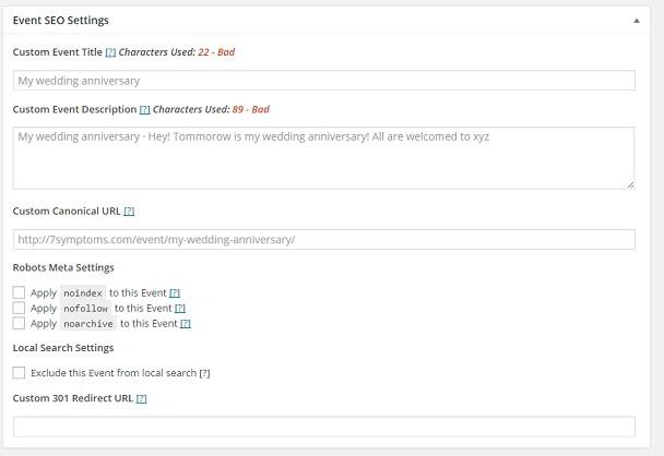 event seo settings