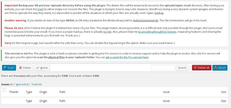 media cleaner : delete remove unused images WordPress