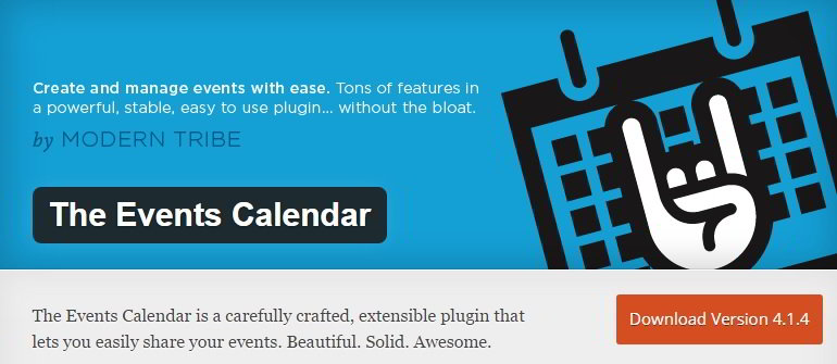 the events calendar plugin for WordPress