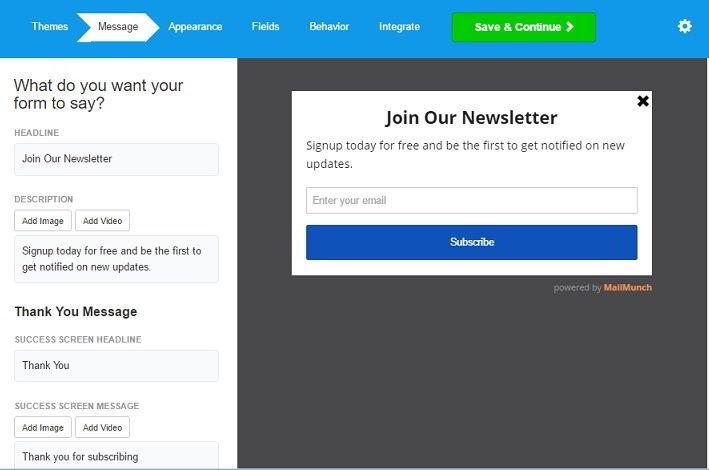 MailMunch message customization