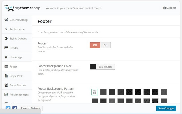 Schema theme footer options