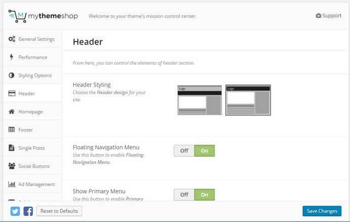 WordPress Schema theme header settings