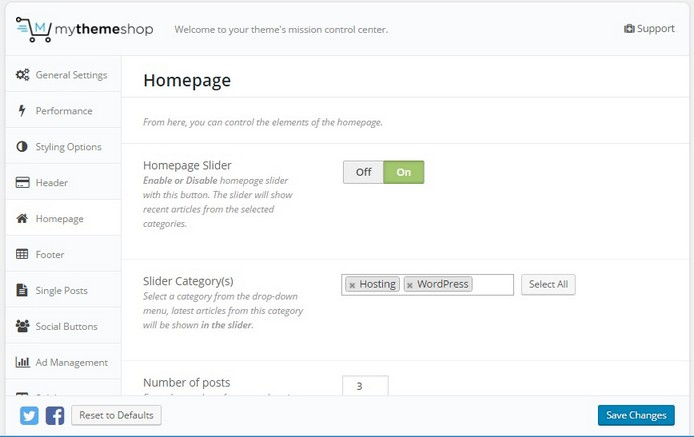 Mythemeshop Schema homepage settings