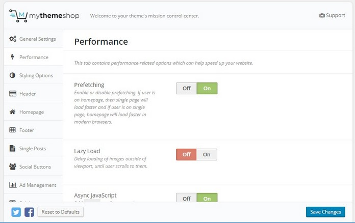 Mythemeshop Schema performance settings
