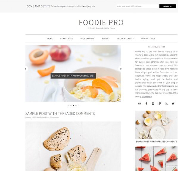 Foodie Pro StudioPress Genesis Framework Child theme
