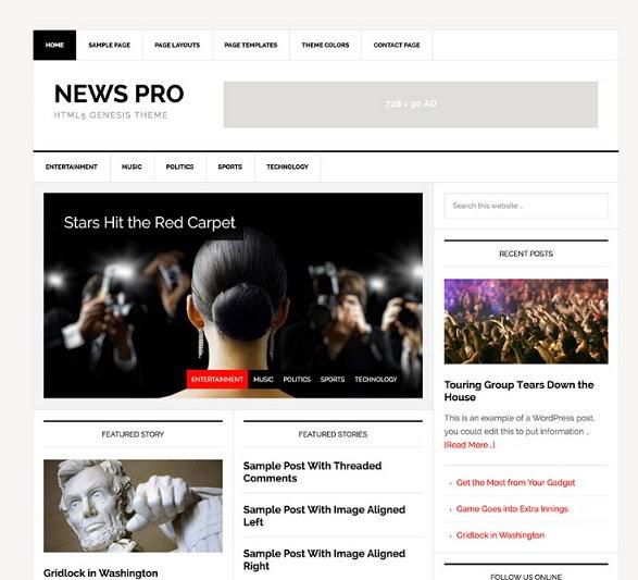 News Pro Genesis Child theme