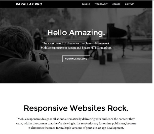 Parallax Pro theme : top genesis child themes