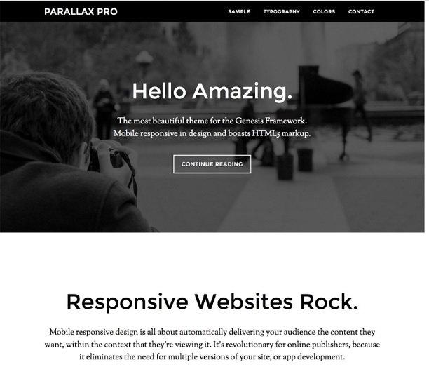 Parallax Pro theme : top genesis child themes