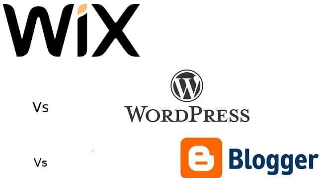 wix vs WordPress vs BlogSpot 2016