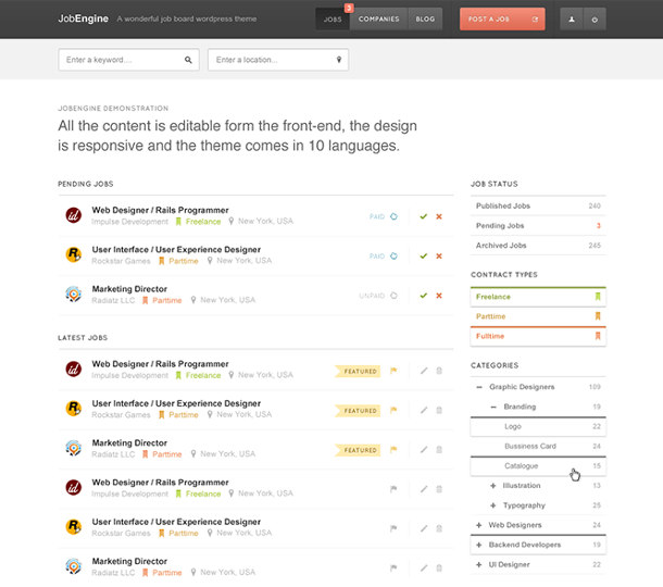 job engine - best wordpress job board theme