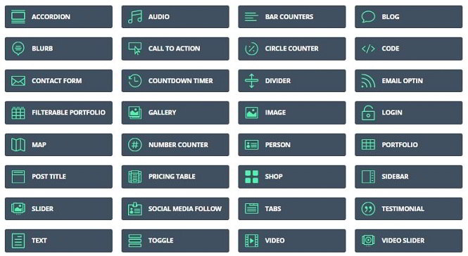 divi builder elements