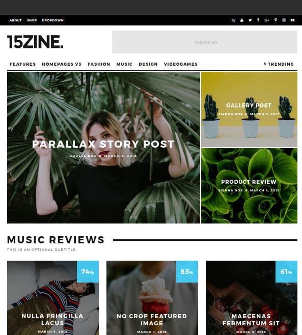 15Zine - best wordpress magazine themes