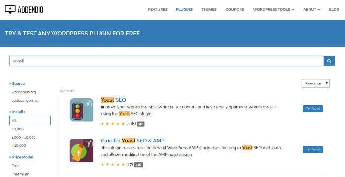 Addendio - test WordPress plugins