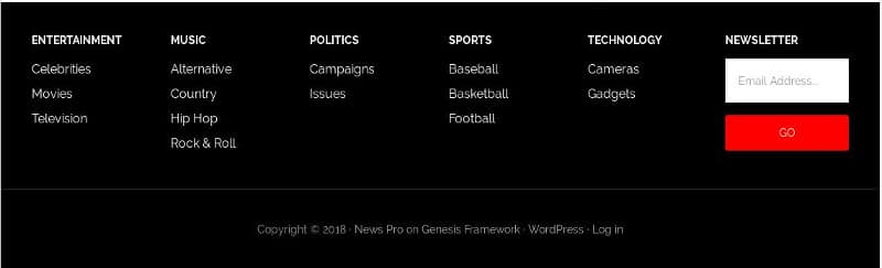 News Pro footer
