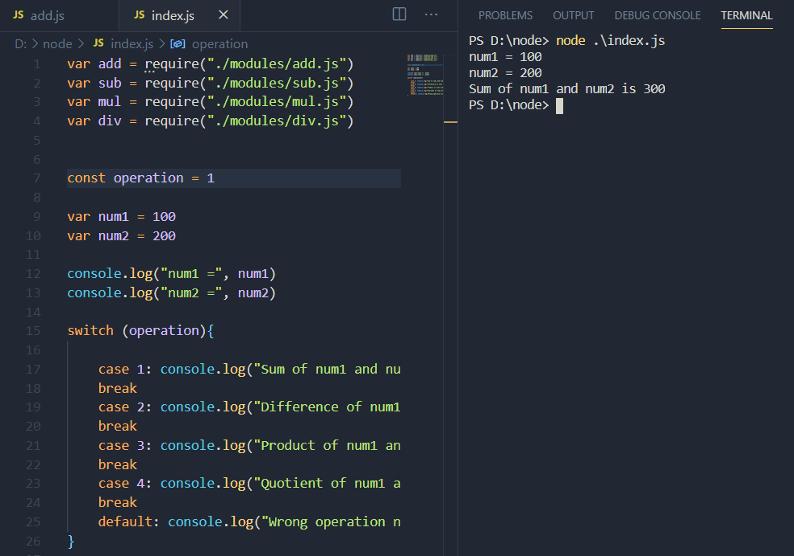 index.js modifications